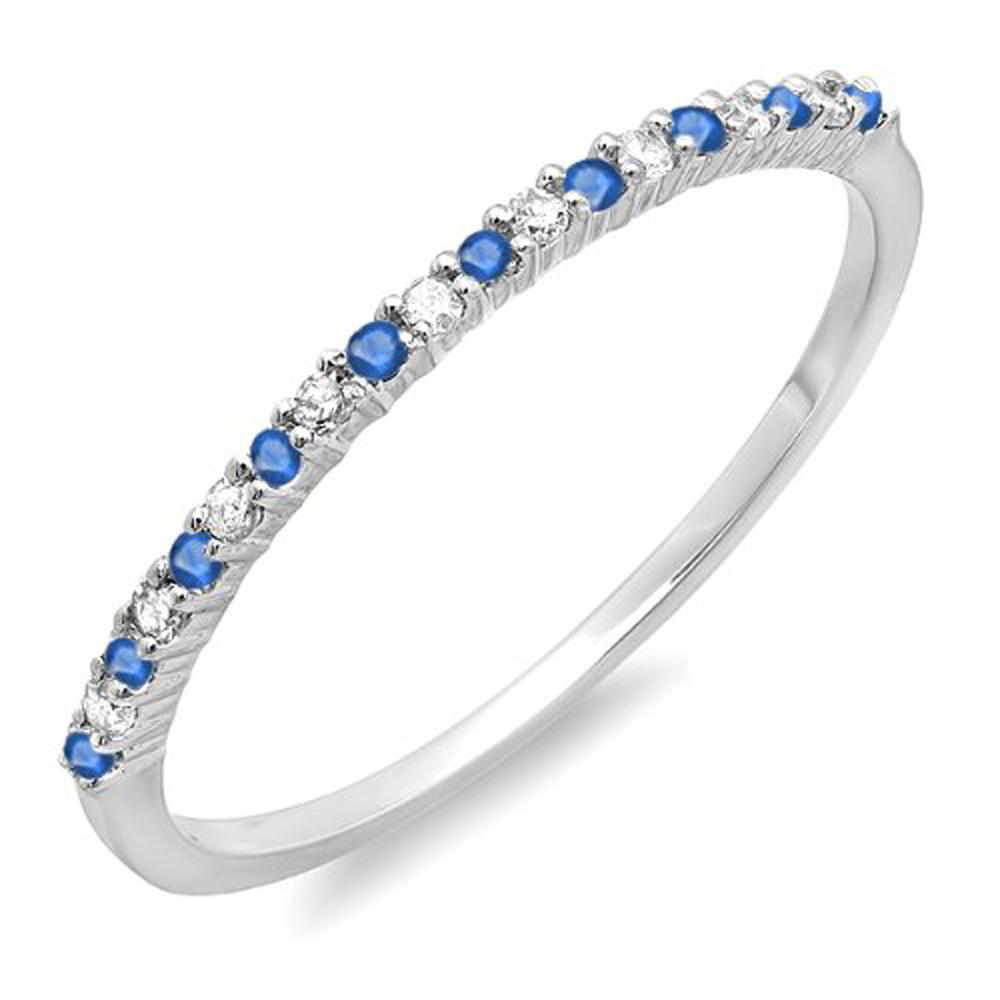 14K White Gold Round Blue Sapphire & White Diamond Ladies Anniversary Wedding Band Stackable Ring