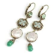 Sweet Romance  Coin Pearl Enamel and Vintage Glass Drop Earrings
