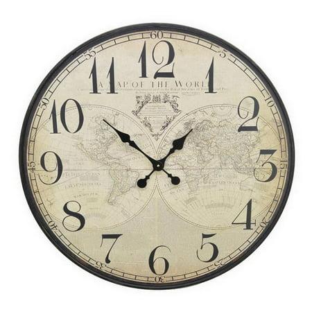 Three hands world map wood wall clock walmart three hands world map wood wall clock gumiabroncs Image collections