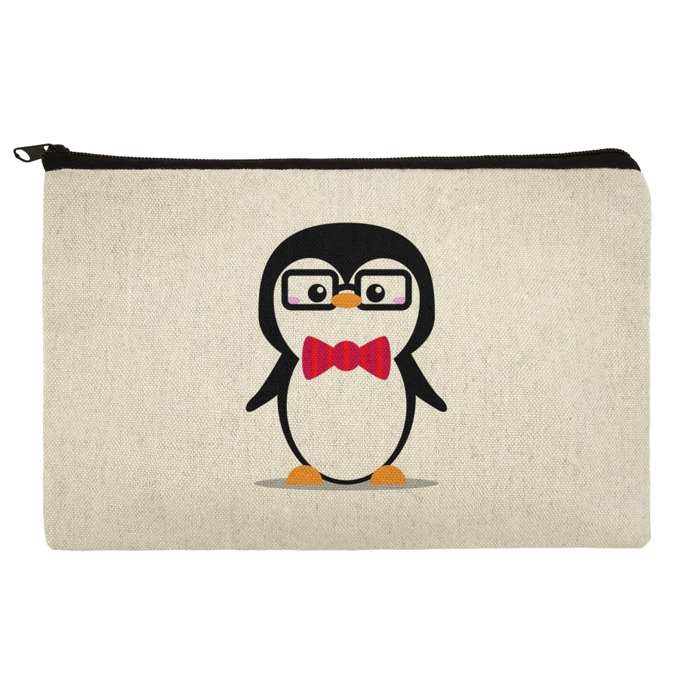Cartoon Penguin with Bow Tie and Glasses Pencil Pen Organizer Zipper Pouch Case