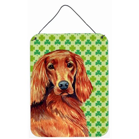 Carolines Treasures LH9209DS1216 Irish Setter St. Patricks Day Shamrock Portrait Aluminium Metal Wall Or Door Hanging Prints - image 1 de 1