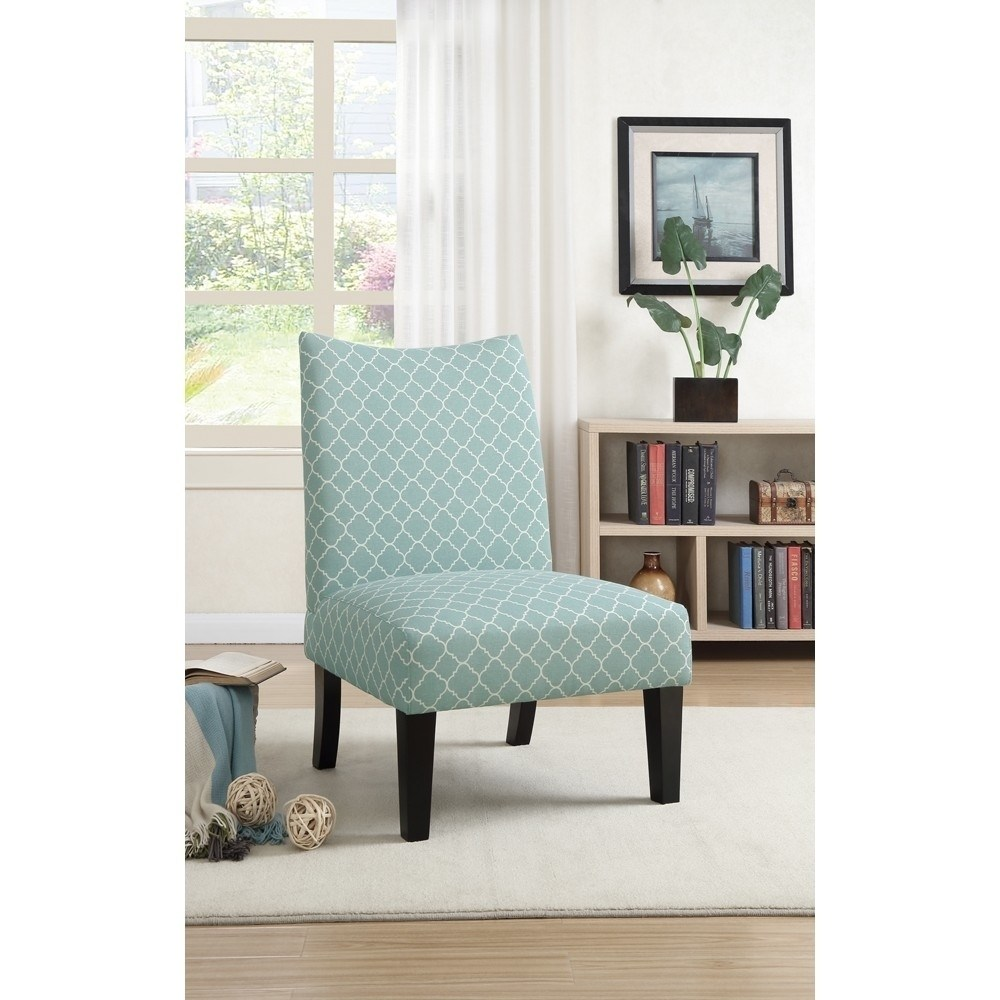 Polyster Fabric Accent Chair In Patterned Fabric, Blue