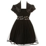 Toddler Girls Beautiful 2 Pieces Bolero Dress Rhinestones Shiny Holiday Flower Girl Dress Black 2 (2J1K4S4)