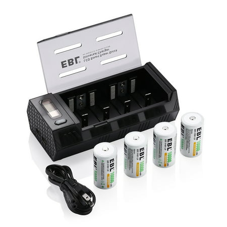 Ebl 4 Pack 10000mah 1 2v Size D R20 Battery Dual Usb
