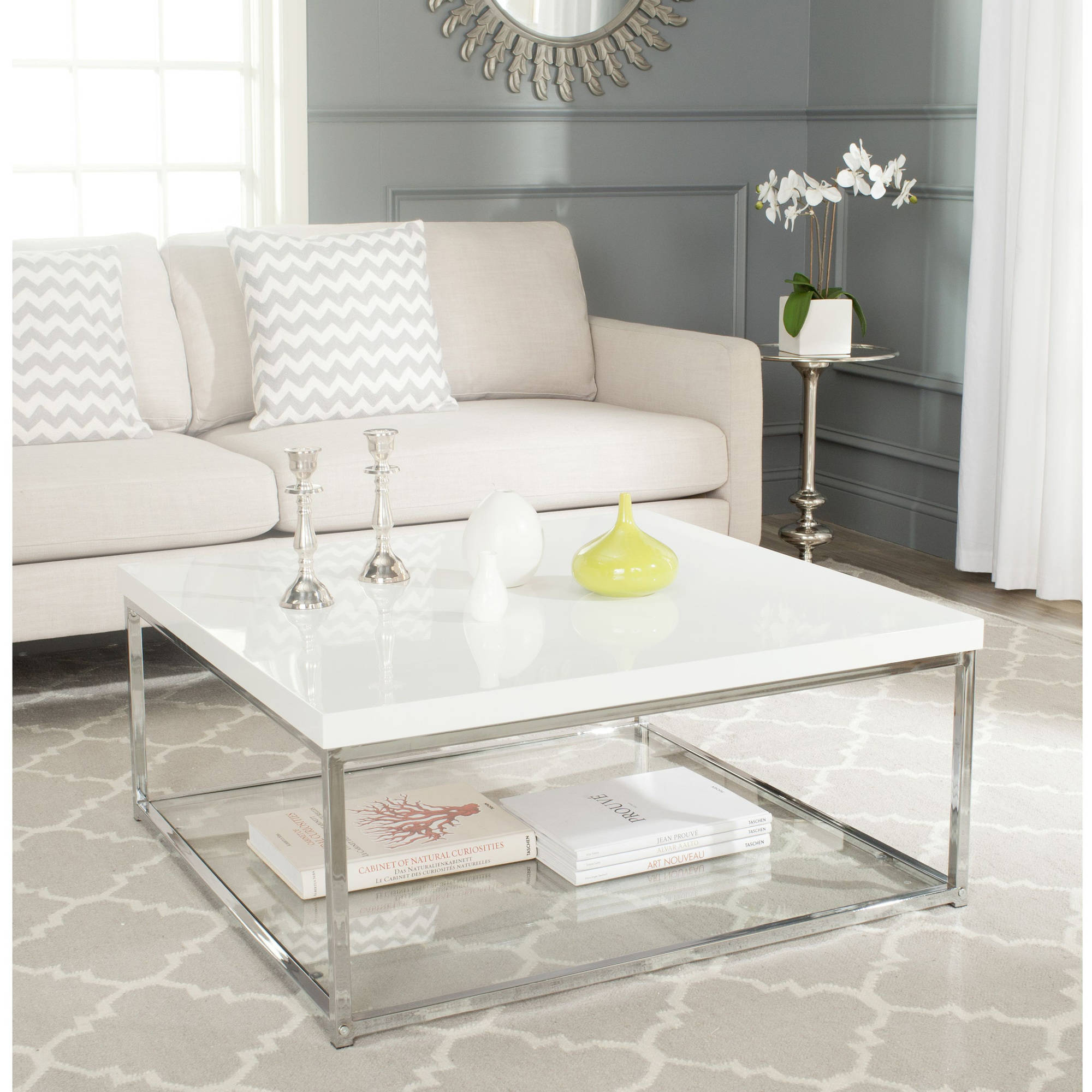 Safavieh Malone Chrome High Gloss Coffee Table, Multiple Colors