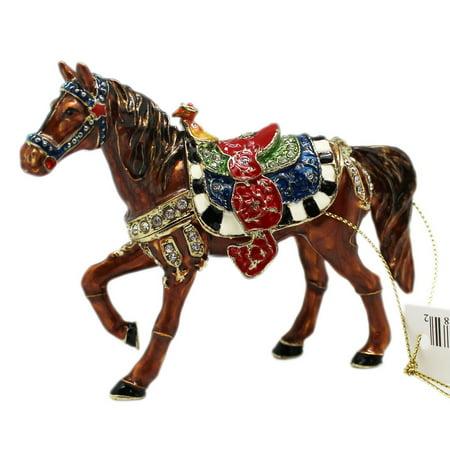 Decorated War Horse Enameled Keepsake Box Figure