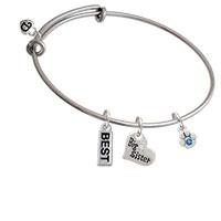Mini Paw with Blue Crystal Big Sister Heart Expandable Bangle Bracelet
