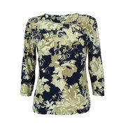 JM Collection Women's 3/4 Sleeve Floral Print Jacquard Top