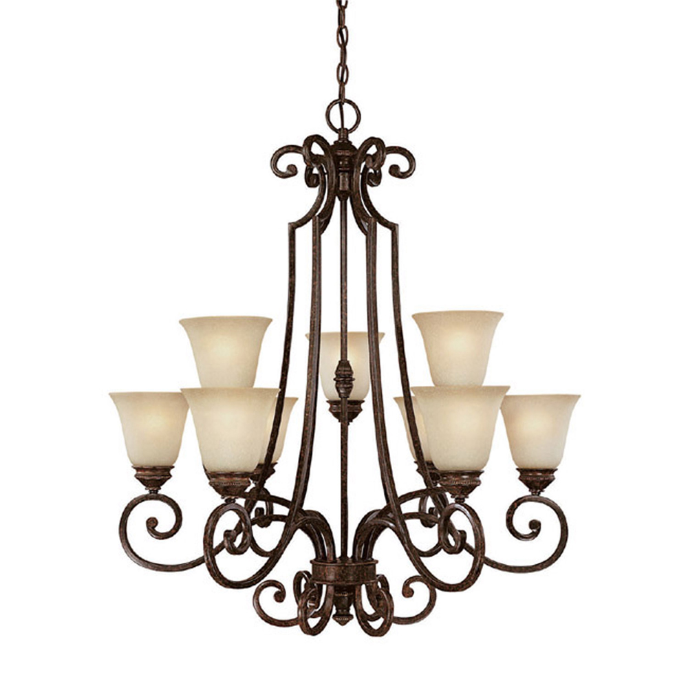 Capital Lighting Barclay Chesterfield Brown 9 Light Chandelier