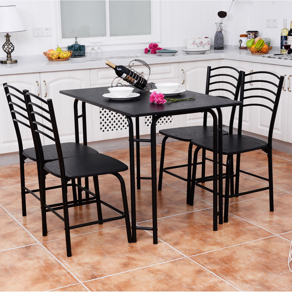 Costway 5 PCS Black Dining Room Set Table 4 Chairs Steel Frame Home Kitchen Furniture by Costway