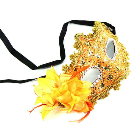 Orange-Yellow Flower Feather Lace Eye Mask Masquerade Ball Party Halloween Costume - Pillowcase Halloween Mask