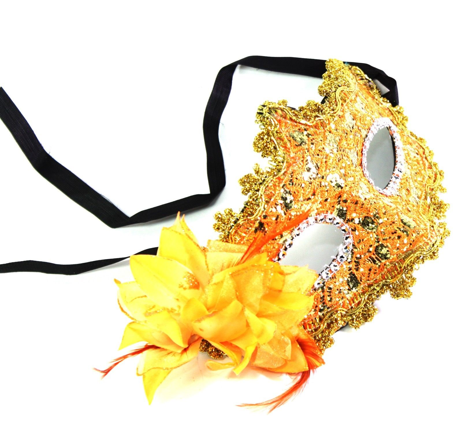 Orange-Yellow Flower Feather Lace Eye Mask Masquerade Ball Party Halloween Costume