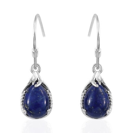 925 Sterling Silver Pear Lapis Lazuli Dangle Drop Hook Earrings for Women Jewelry