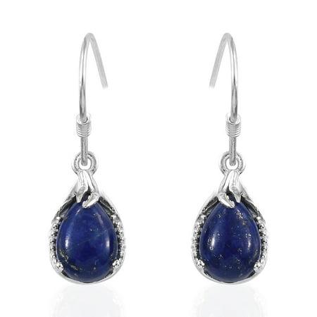 Lapis Twisted Earrings (925 Sterling Silver Pear Lapis Lazuli Dangle Drop Hook Earrings for Women Jewelry Gift )