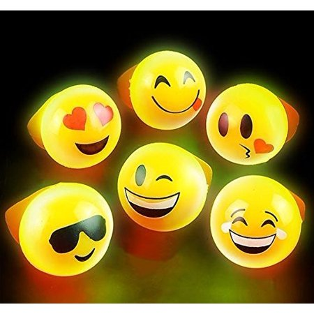 Flashing Rings Emoji Icons, LED Emoticon Light Up Rings Pack of 24 - Novelty & Gag Toys, Party Favor, Bag Stuffer, Giveaway, Gifts- By - Noveltees Wholesale