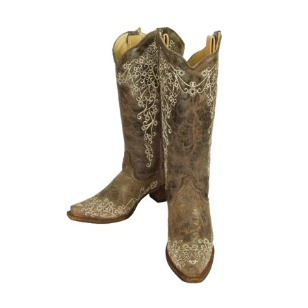 43c7f63cc Corral Boots - Corral Women's Brown Crater Bone Embroidery Snip Toe Boots  A1094 - Walmart.com