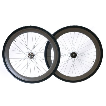 Track / Fixed Fixie Bike Deep 50mm Rim 700c Wheelset + Tires Tubes Cogs 32H NEW ()