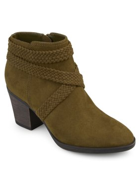 d1cb311e9f Women's Faux Suede Criss Cross Strap Almond Toe Stacked Heel Booties