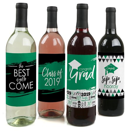 Green Grad - Best is Yet to Come - Green 2019 Graduation Party Decorations for Women and Men - Wine Bottle