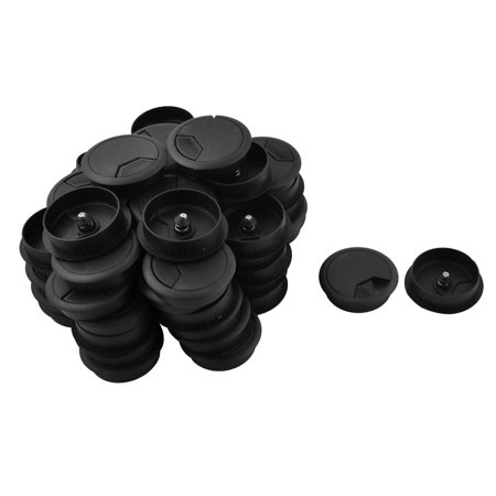 Round Shaped Desk Cable Tidy Wire Hole Cover Outlet Grommet Black 2 Inch 60 Pcs