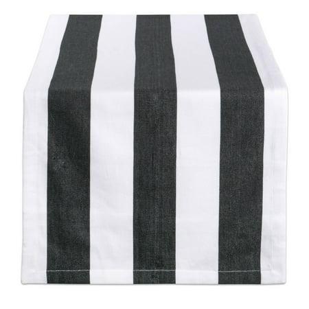 DII Black/White Dobby Stripe Table Runner, 72 x 18