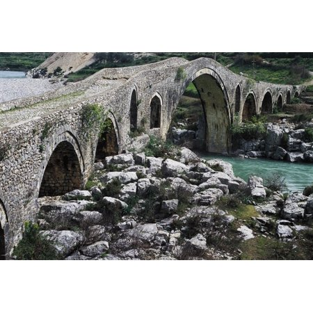 Mes Bridge over Kiri River, Near Shkoder, Albania, 18th Century Print Wall Art - Nearest Party City Near Me