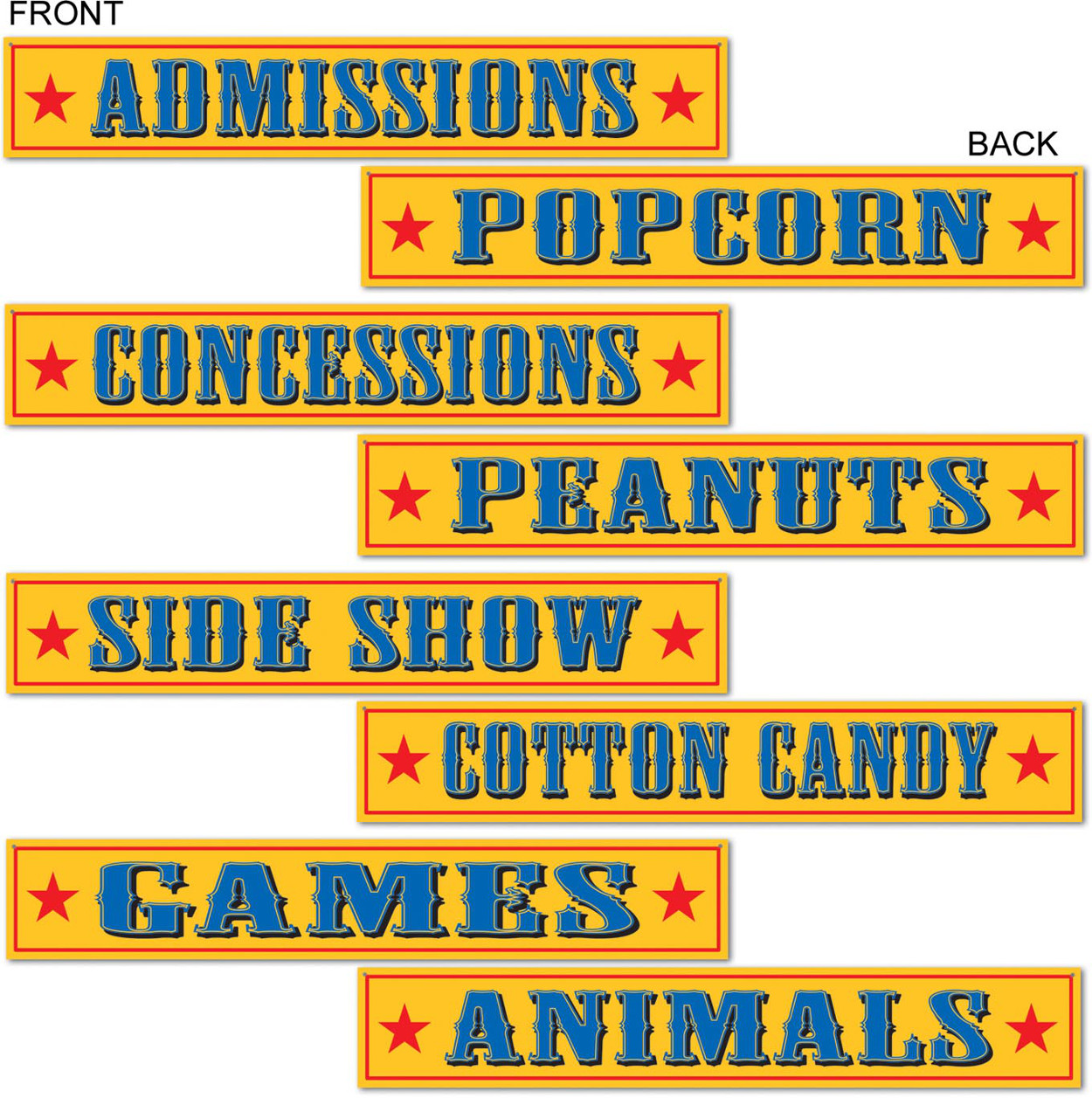 Set Of 4 Circus Sign Carnival Cutouts Party Decorations