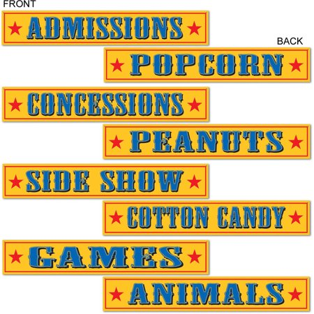 Set Of 4 Circus Sign Carnival Cutouts Party Decorations - Carnival Cutouts
