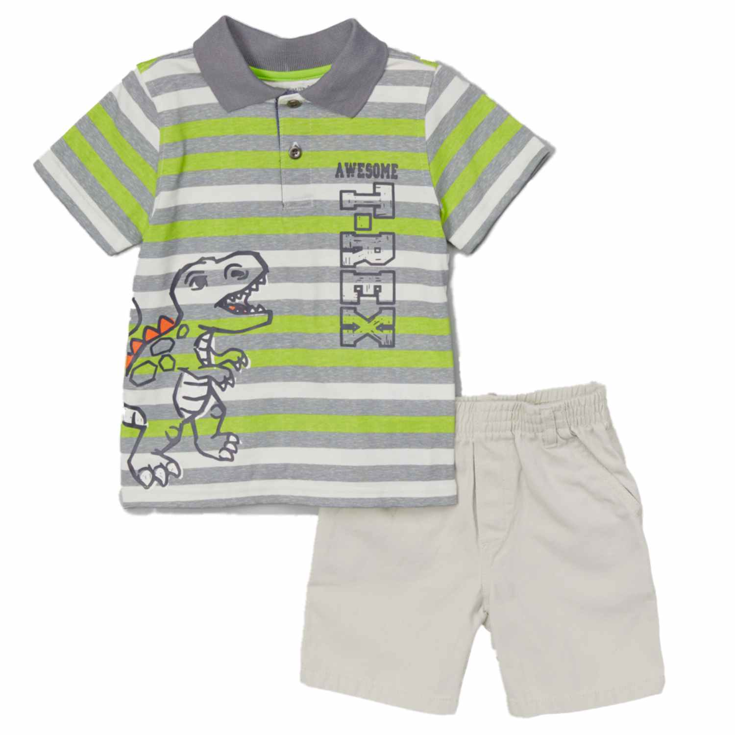 Kids Headquarters Infant Boys 2-Piece Awesome T-Rex T-Shirt & Shorts Set