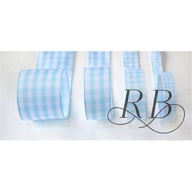 Ribbon Bazaar 5626 1.5 in. Taffeta Gingham Check Ribbon, Light Blue - 25 Yards