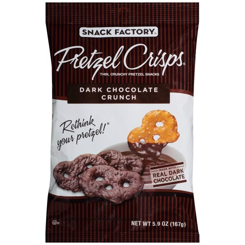 Pretzel Crisps Dark Chocolate Crunch Thin, Crunchy Pretzel Snacks, 5.9 oz