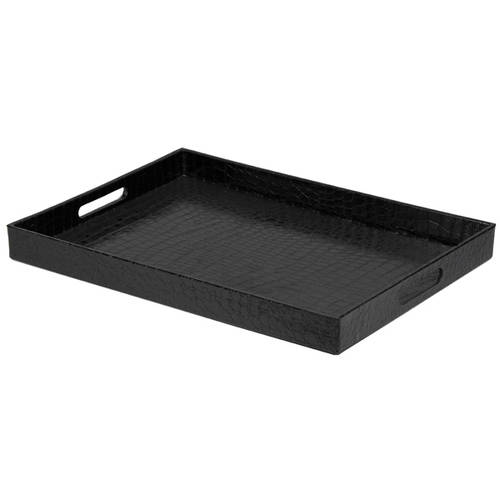 home basics matte black crocodile matte serving tray