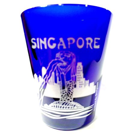 Singapore Merlion Fountain Cobalt Blue Frosted Shot (Sports Glasses Singapore)