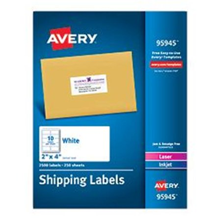 Avery-Dennison 95945 White Shipping Labels, Laser or Inkjet, White - 2 x 4 inch
