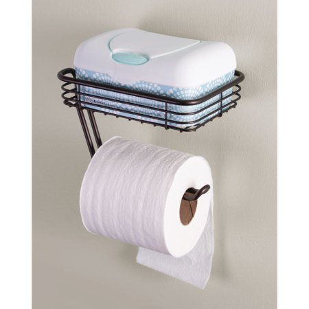 - InterDesign Toilet Tissue Holder with Shelf, Wall Mount, Bronze