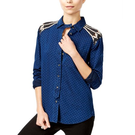 FREE PEOPLE $168 NEW 19197 Knit Trim Contrast Shirt Womens Top M ()