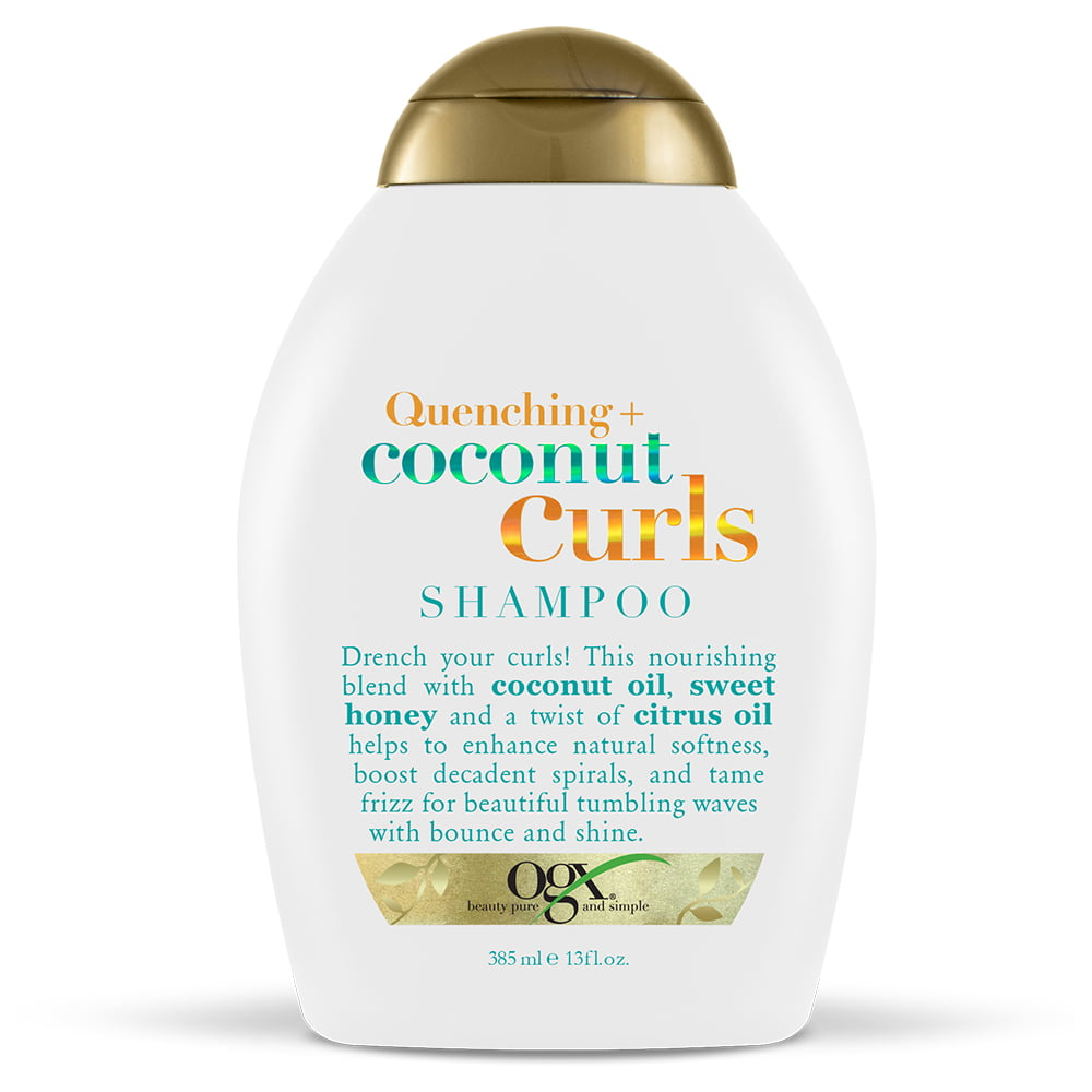 OGX Quenching + Coconut Curls Curl Defining Shampoo, Hydrating & Nourishing  Curly Hair Shampoo with Coconut Oil, Citrus Oil & Honey, Paraben Free, ...