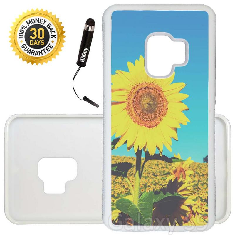 Custom Galaxy S9 Case (Vintage Sunflower) Edge-to-Edge Rubber White Cover Ultra Slim | Lightweight | Includes Stylus Pen by Innosub