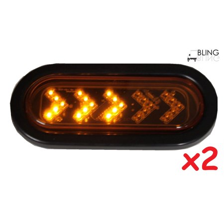 2 Amber Sequential Oval LED Light Sealed 6