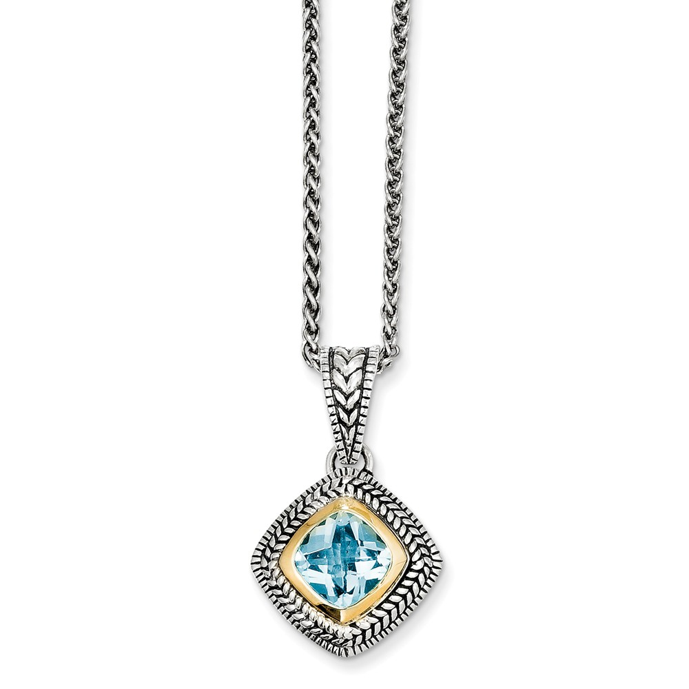 """14K Gold and 925 Sterling Silver with Sky Blue Simulated Topaz Necklace -18"""" (18in x 2mm) by"""