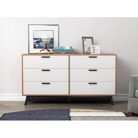 Mainstays Mid Century Modern 6 Drawer Dresser In Multiple Finish