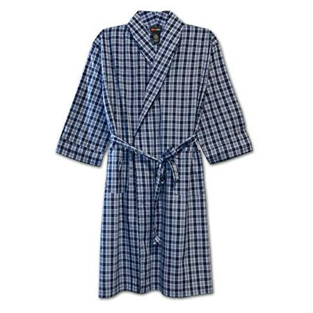 Big And Tall Plaid Robe - Hanes Big Mens Light Weight Plaid Robe (Blue 5/6X)