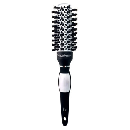 Round Ceramic Ionic Nano Technology Hair Brush by Better Beauty Products, M/1 1/4 inch/32mm Barrel with 100% Soft Boar Bristles and Anti-slip Grip Handle, Professional Salon Brush, Black/White, 1 inch