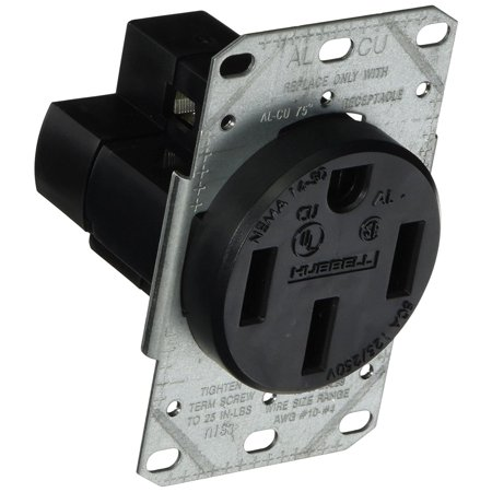 Range And Dryer Receptacle 50 Amp 3 Pole 4 Wire Black By Hubbell Wiring Ship from US ()