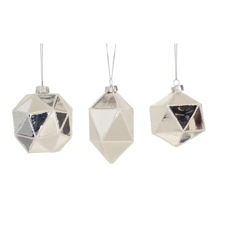 Silver Ball Drop - Club Pack of 24 Silver Geometric Shaped Ball, Drop and Onion Christmas Glass Ornament 4