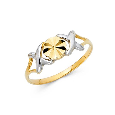 14k Two Tone Italian Solid Gold 7mm Band XOX Love Soulmate Pattern Ring Size 8.5 Available All Sizes