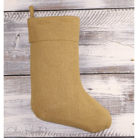 Deluxe Burlap Natural Tan Christmas Stocking (1)](Mesh Christmas Stockings)