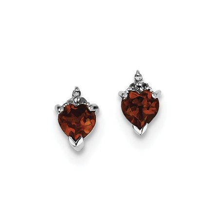 925 Sterling Silver (0.03cttw) Rhodium Heart Garnet and Diamond Post Earrings (9mm x -