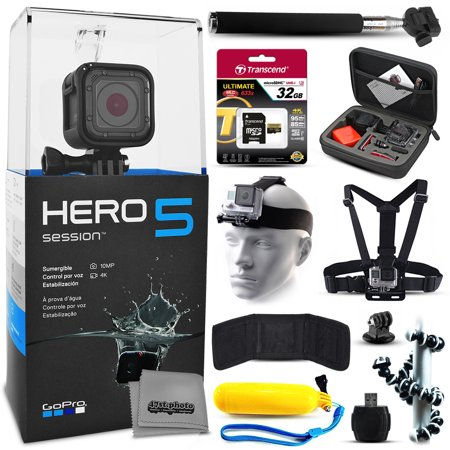 GoPro HERO5 Session CHDHS-501 with 32GB Ultra Memory + Premium Case + Head Strap + Selfie Stick + Chest Harness + Flexible Tripod + Floaty Bobber + MicroSD Card Reader + More