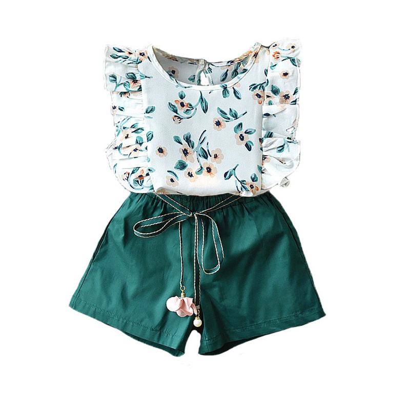 2PCS Toddler Kids Baby Girl Outfits Ink and Wash Floral Shirt Shorts Dress Set